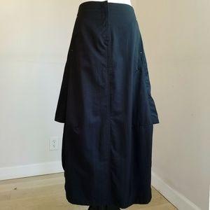 Heart Moon Star Black Maxi Asymmetric Skirt